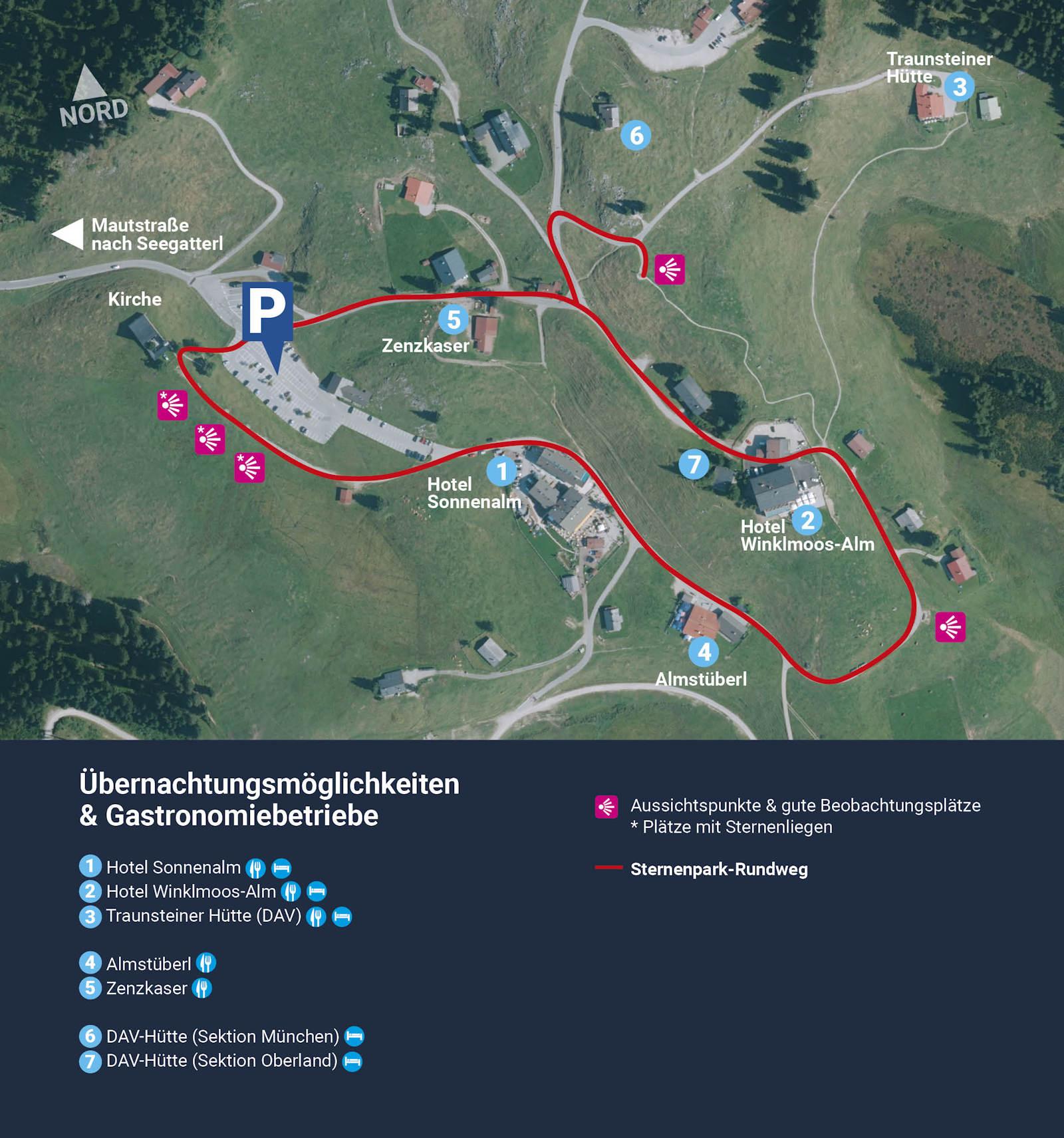 Karte Sternenpark Winklmoosalm